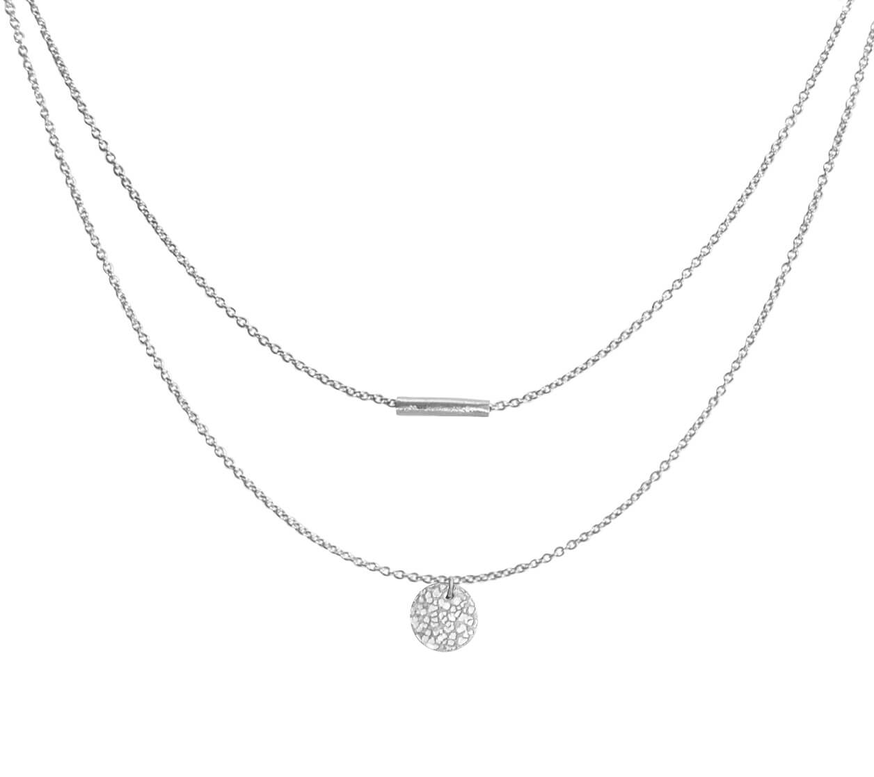 Mas Jewelz necklace with hammered Coin double Silver