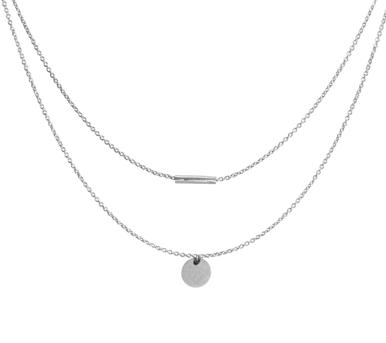 Mas Jewelz necklace with Coin mat double Silver