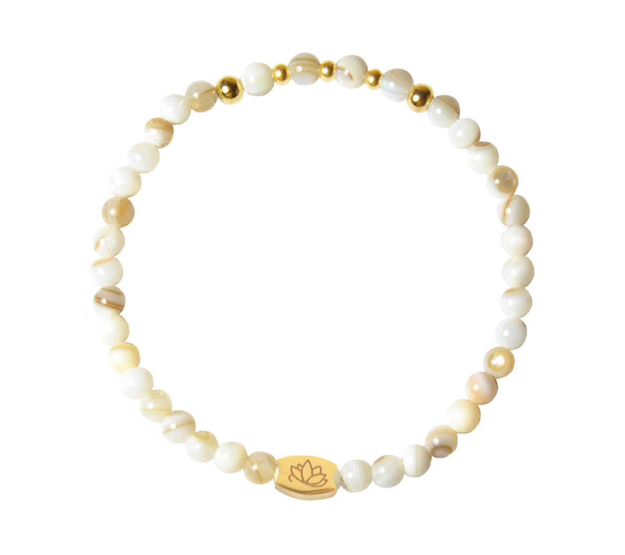 Mas Jewelz 4 mm Mother of Pearl Model 2 Gold