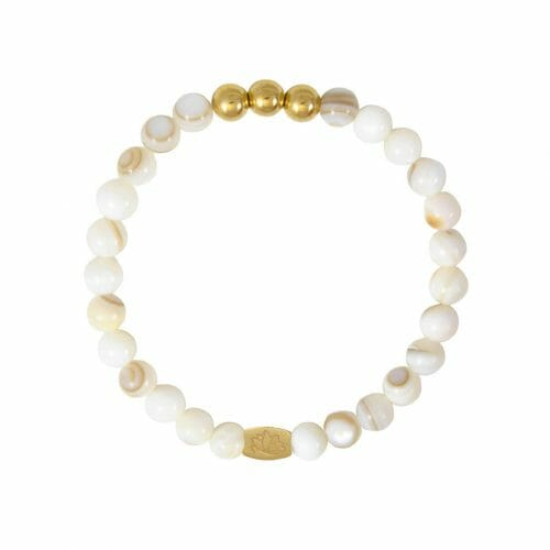 Mas Jewelz 6 mm Mother of Pearl Gold
