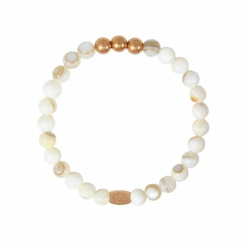 Mas Jewelz 6 mm Mother of Pearl Rose gold