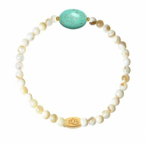 Mas Jewelz Mother of Pearl bracelet with Turquoise oval Gold