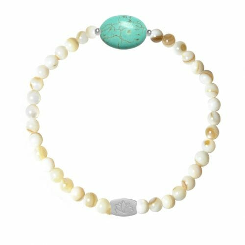 Mas Jewelz Mother of Pearl bracelet with Turquoise oval Silver
