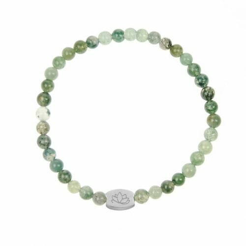 Mas Jewelz 4 mm Moss Agate Model 1 Silver