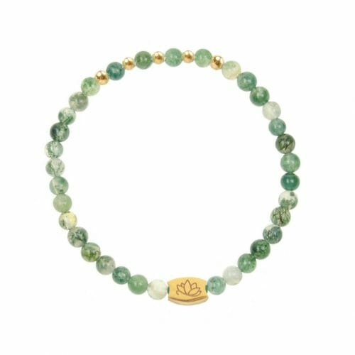 Mas Jewelz 4 mm Moss Agate Model 2 Gold