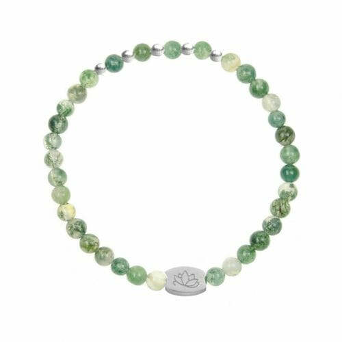 Mas Jewelz 4 mm Moss Agate Model 2 Silver