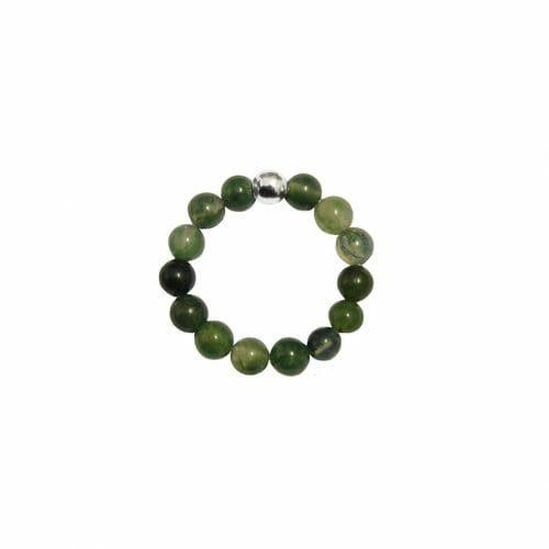 Mas Jewelz Ring 4 mm Moss Agate Model 1 Silver