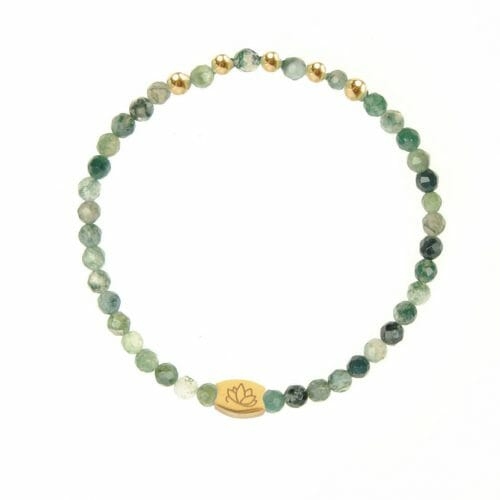 Mas Jewelz Special Facet Moss Agate Model 2 Gold