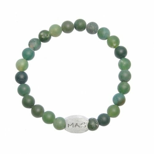 Mas Jewelz Men 8 mm Moss Agate Model 1