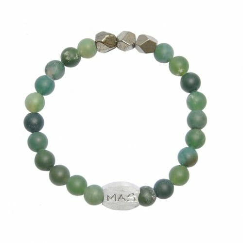 Mas Jewelz Men 8 mm Moss Agate Model 2