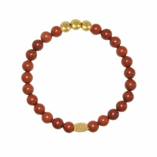 Mas Jewelz 6 mm Red Jasper Gold