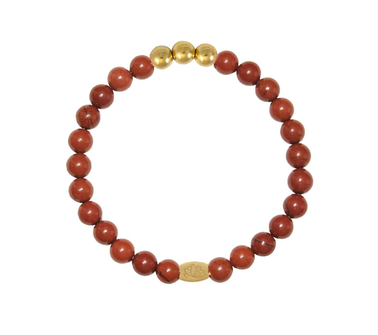 Mas Jewelz 6 mm Red Jasper Gold