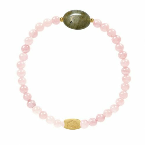 Mas Jewelz Rose Quartz bracelet with Labradorite oval Gold