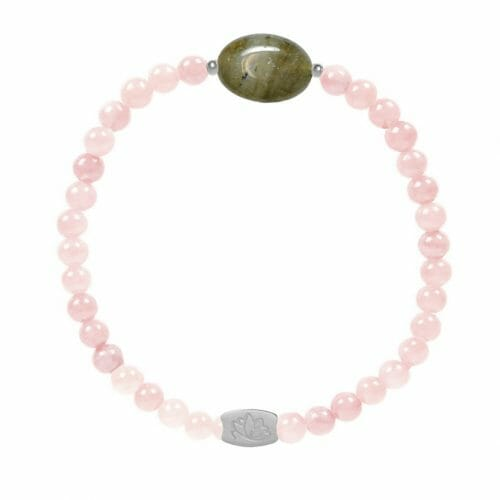 Mas Jewelz Rose Quartz bracelet with Labradorite oval Silver