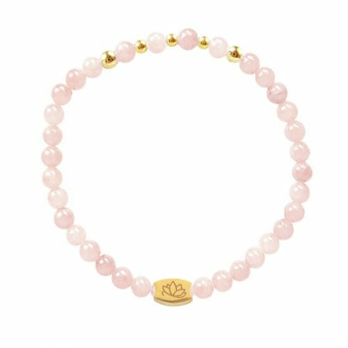 Mas Jewelz 4 mm Rose Quartz Model 2 Gold