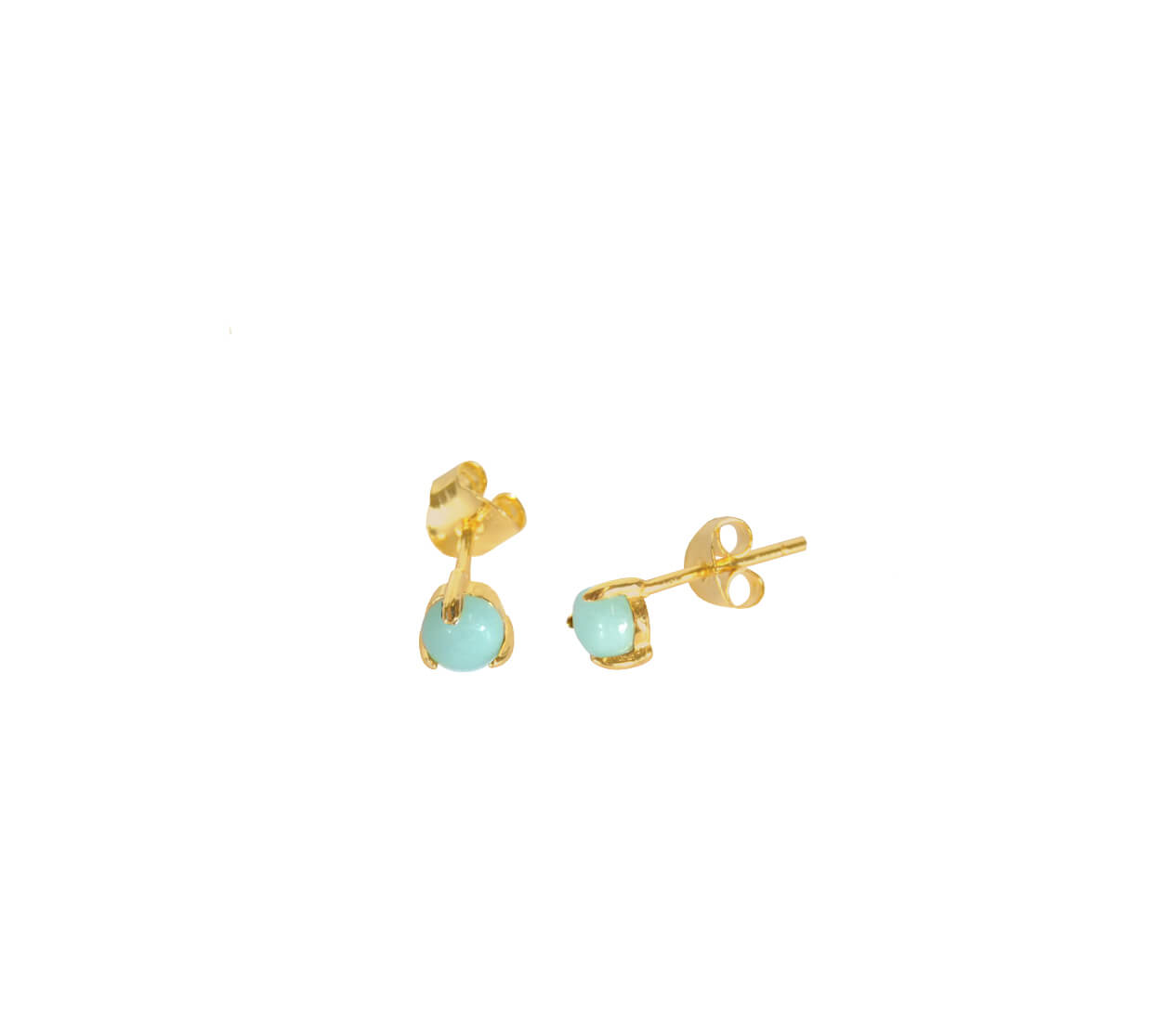 Mas Jewelz Earstuds Amazonite Gold