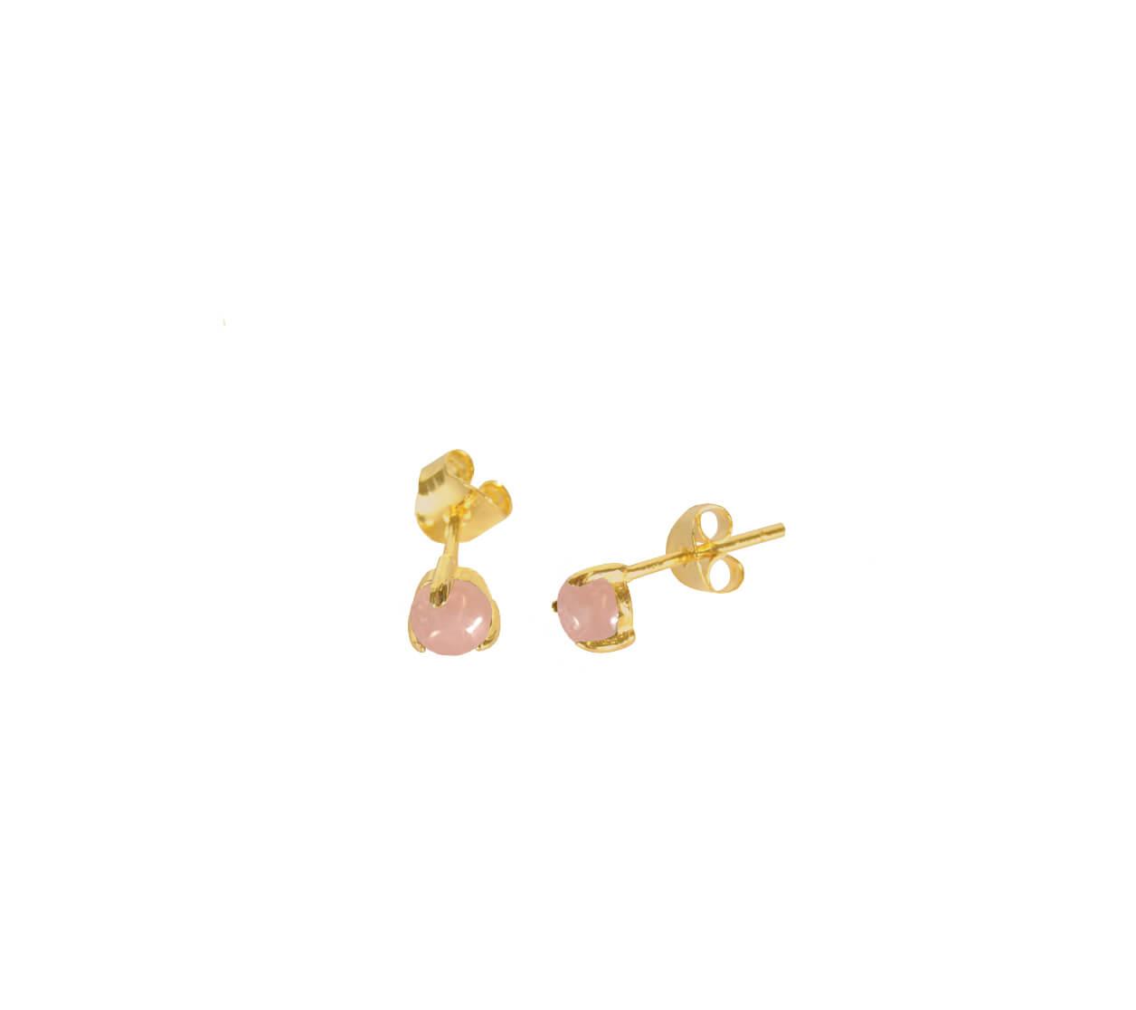 Mas Jewelz Earstuds Pink Opal Gold