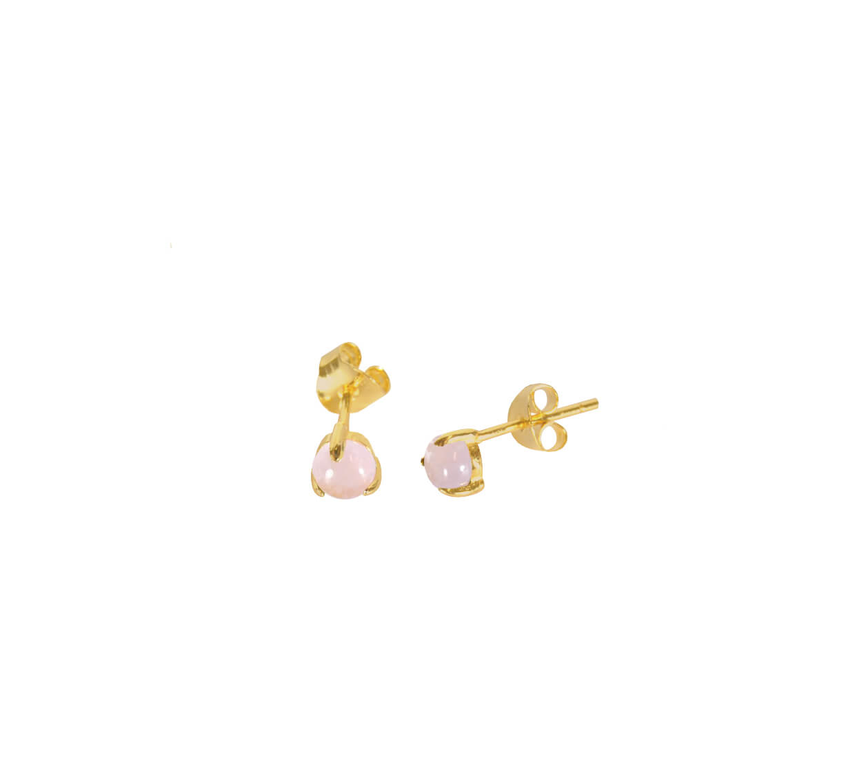 Mas Jewelz Earstuds Rose Quartz Gold