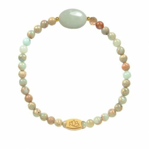 Mas Jewelz Serpentine bracelet with Amazonite oval Gold
