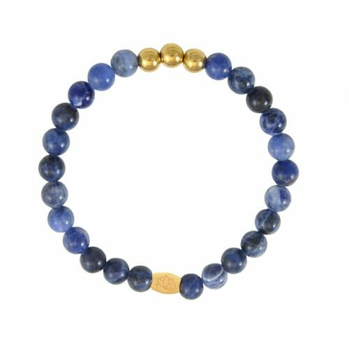 Mas Jewelz 6 mm Sodalite Gold