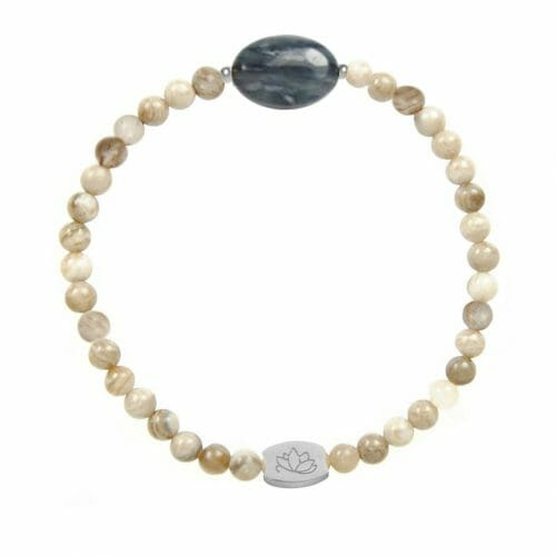 Mas Jewelz Silver Leaf Jasper bracelet with Blue Quartz oval Silver