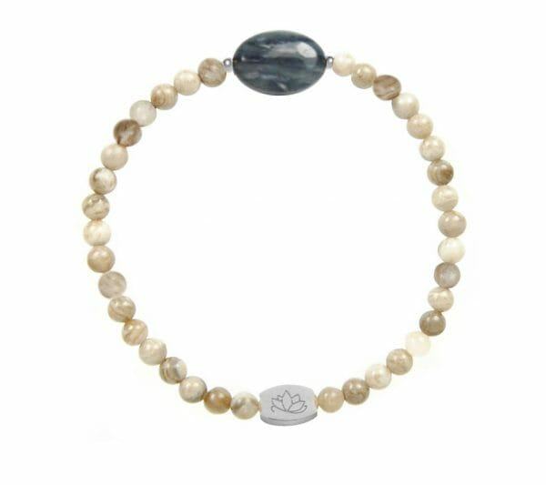 Mas Jewelz Silberblattjaspis Armband mit Blauquartz Oval Silber
