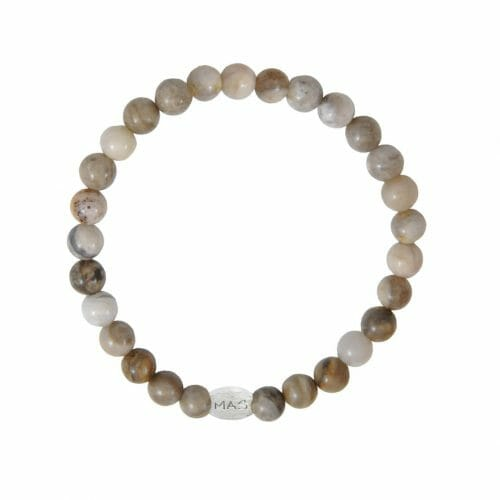 Mas Jewelz Men 6 mm Silver Leaf Jasper Model 1