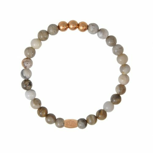 Mas Jewelz 6 mm Silver Leaf Jasper Rose gold