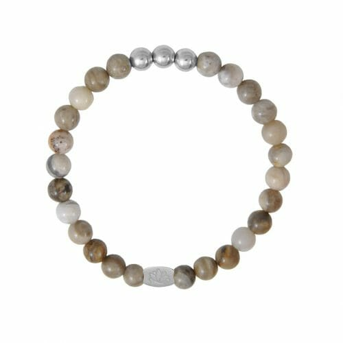Mas Jewelz 6 mm Silver Leaf Jasper Silver
