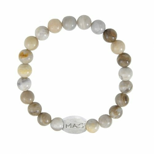 Mas Jewelz Men 8 mm Silver Leaf Jasper Model 1