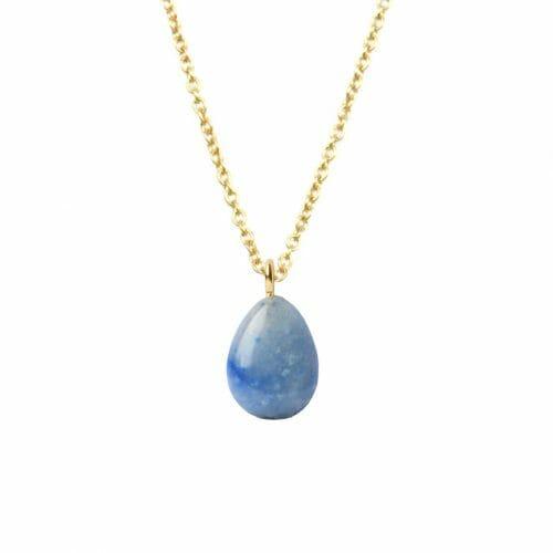 Mas Jewelz necklace long with Pendant Blue Quartz Gold