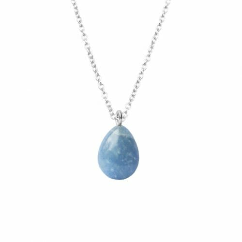 Mas Jewelz necklace long with Pendant Blue Quartz Silver