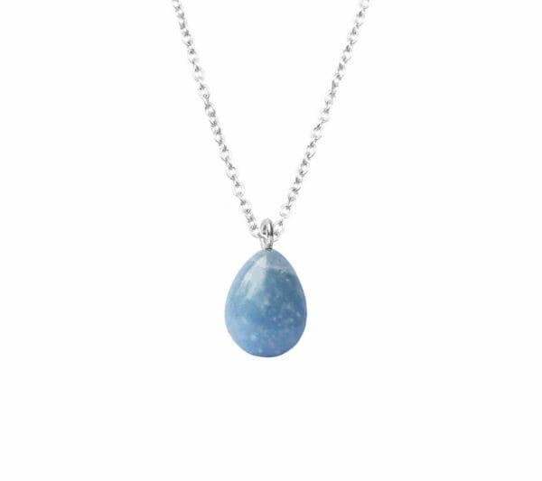 Mas Jewelz necklace long with Pendant Blue Quartz Silver