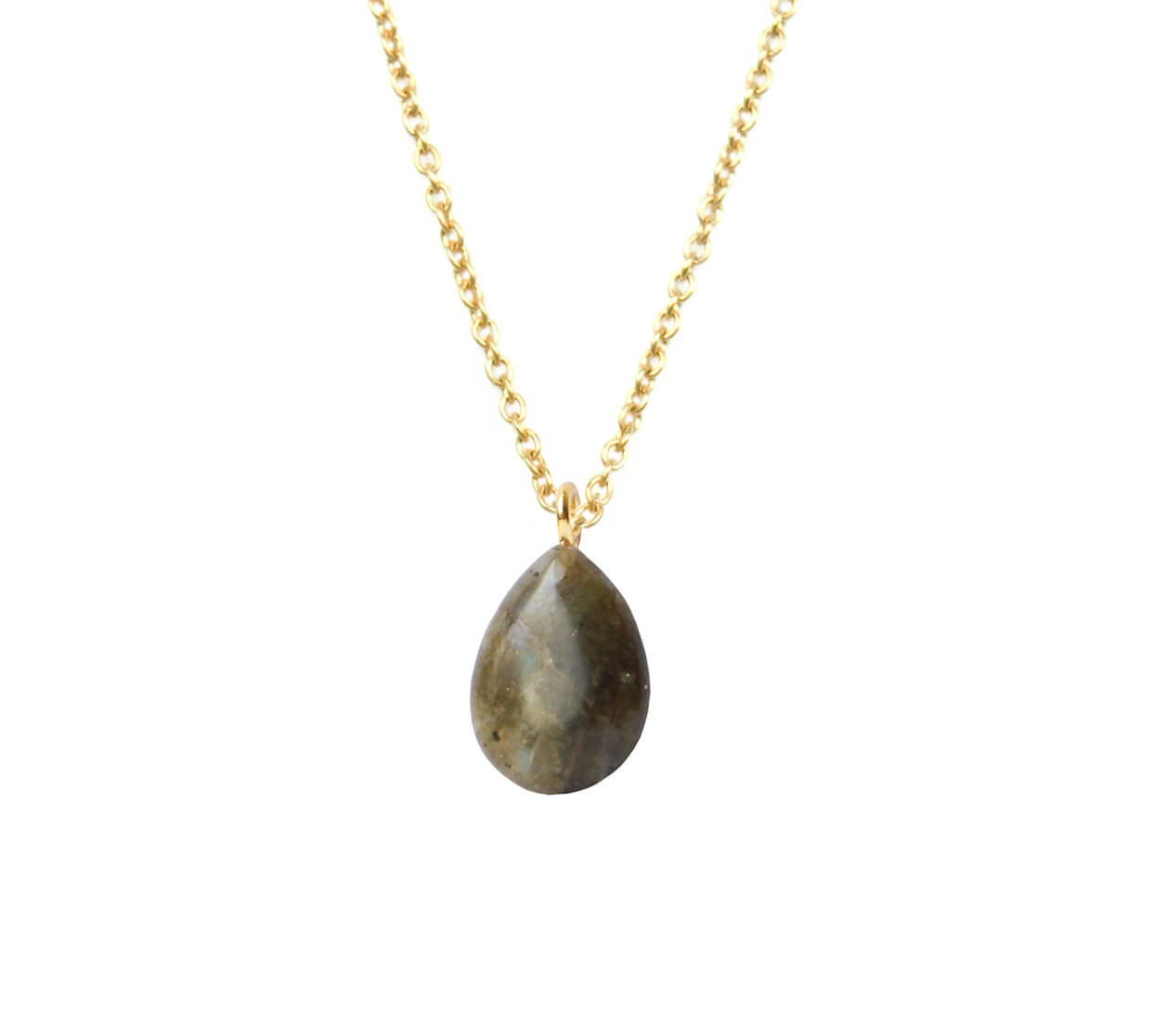 Mas Jewelz necklace long with Pendant Labradorite Gold