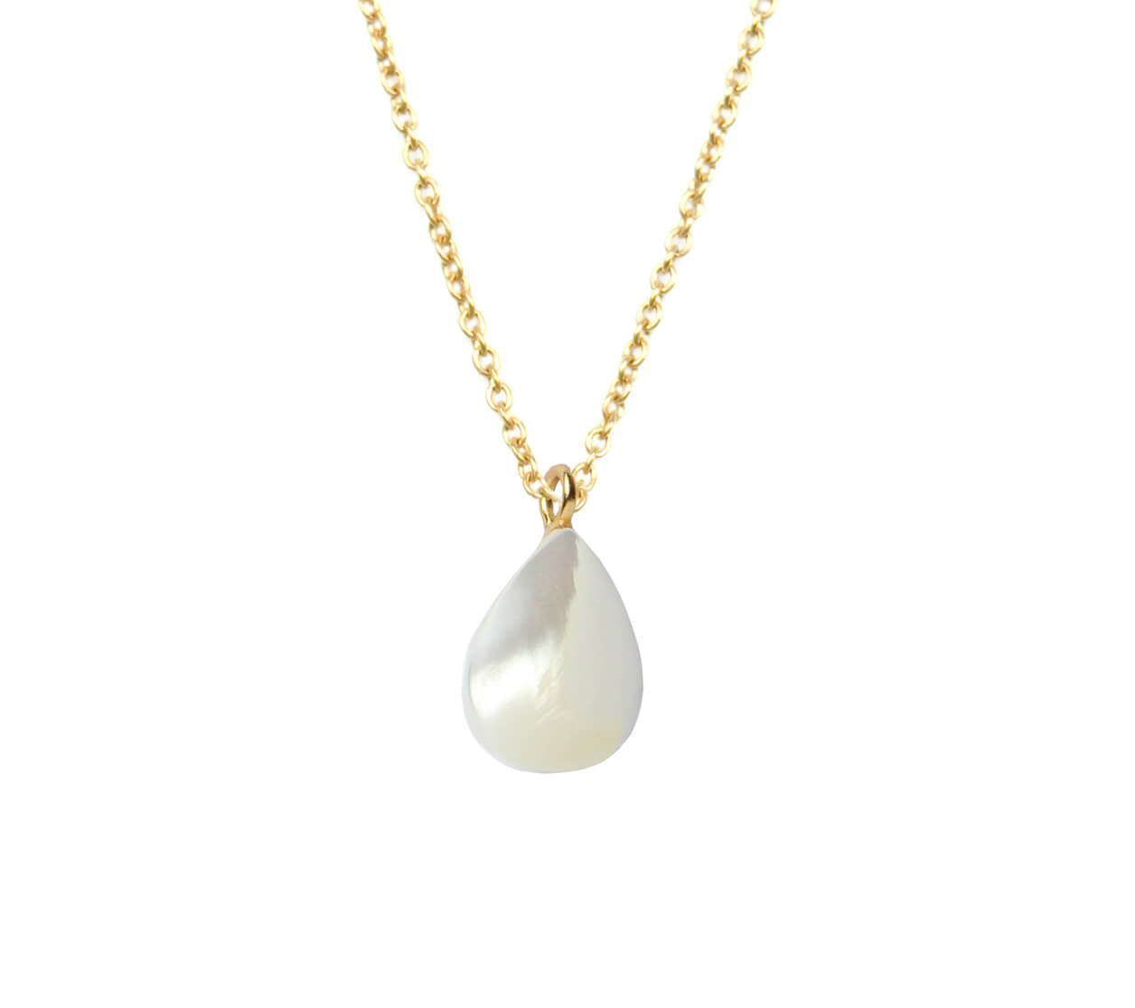 Mas Jewelz necklace long with Pendant Mother of Pearl Gold