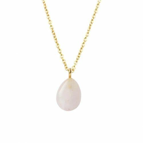 Mas Jewelz necklace long with Pendant Rose Quartz Gold