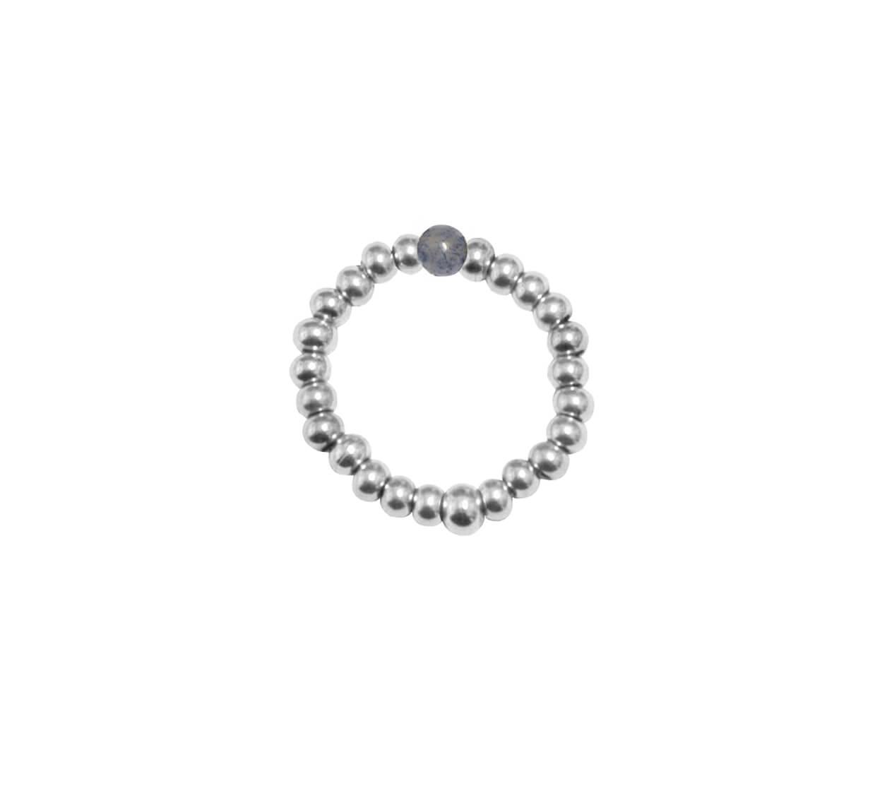 Mas Jewelz Ring 3 mm Blue Quartz Model 2 Silver
