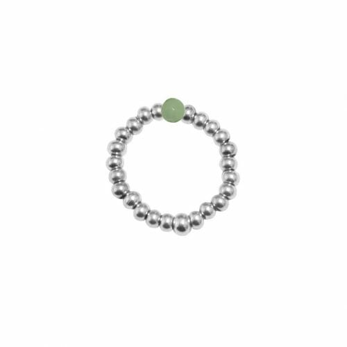 Mas Jewelz Ring 3 mm Grüner Aventurin Model 2 Silber