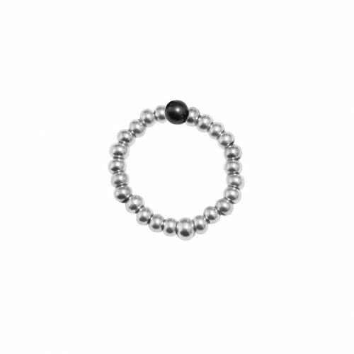 Mas Jewelz Ring 3 mm Hämatit Model 2 Silber