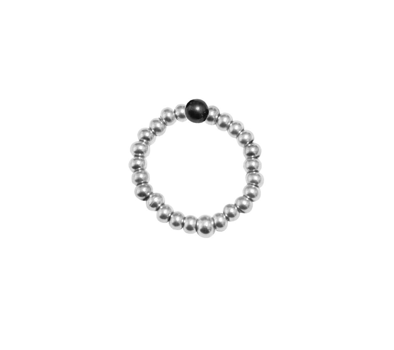 Mas Jewelz Ring 3 mm Hematite Model 2 Silver