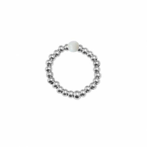 Mas Jewelz Ring 3 mm Perlmutt Model 2 Silber