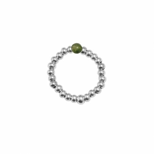 Mas Jewelz Ring 3 mm Moss Agate Model 2 Silver