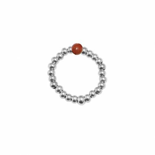 Mas Jewelz Ring 3 mm Roter Jaspis Model 2 Silber