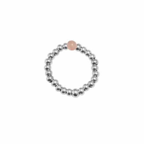 Mas Jewelz Ring 3 mm Rosenquartz Model 2 Silber