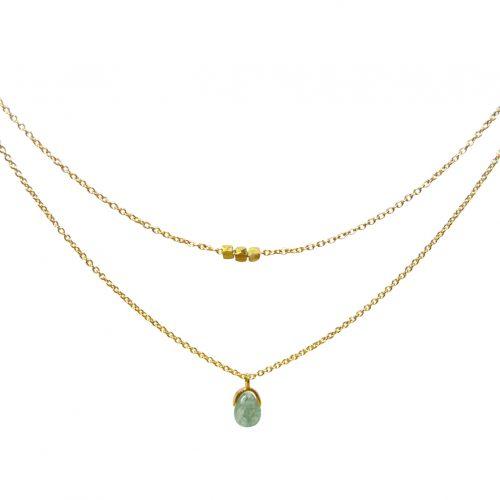Mas Jewelz necklace Bail double Moss Agate Gold