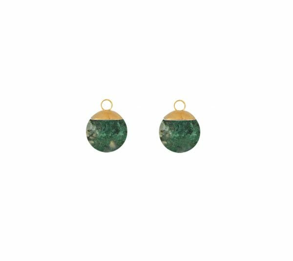 Mas Jewelz Charms 8 mm Moss Agate Gold