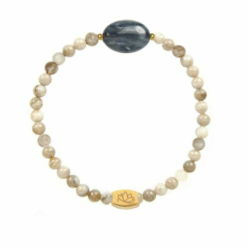 Mas Jewelz Silver Leaf Jasper bracelet with Blue Quartz oval Gold