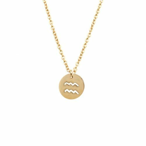 Mas Jewelz zodiac sign necklace Aquarius Gold