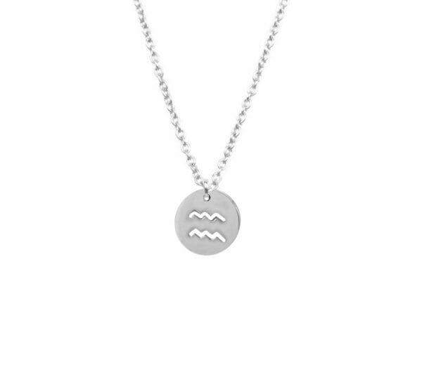 Mas Jewelz zodiac sign necklace Aquarius Silver