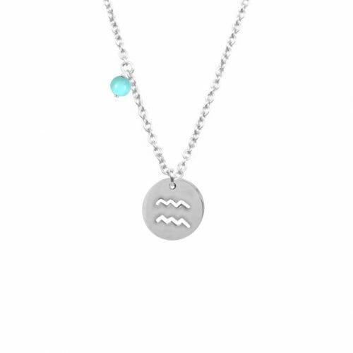 Mas Jewelz zodiac sign necklace with birthstone Aquarius Silver